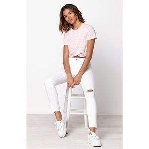 NWT Levi's White 711 Skinny Ankle Distressed Jeans